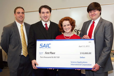 The first place team, winning $10,000 in scholarship money was Caroline Bryson, Nursing and Engineering; Jacob Bryson, Engineering; and Joseph Finney, Engineering.