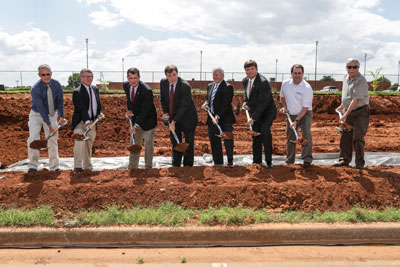 Ground was broken Monday, July 15, 2013 for the Severe Weather Institute Research and Lightning Laboratory (SWIRLL) behind the Robert