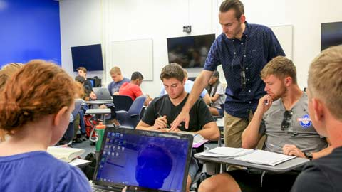 The UAH Department of History's newly upgraded collaborative learning classroom enables faculty members to more successfully integrate both group work and technology into their curriculum.