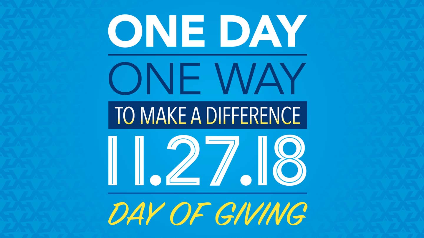 One day one way to make a difference day of giving Nov. 27, 2018.