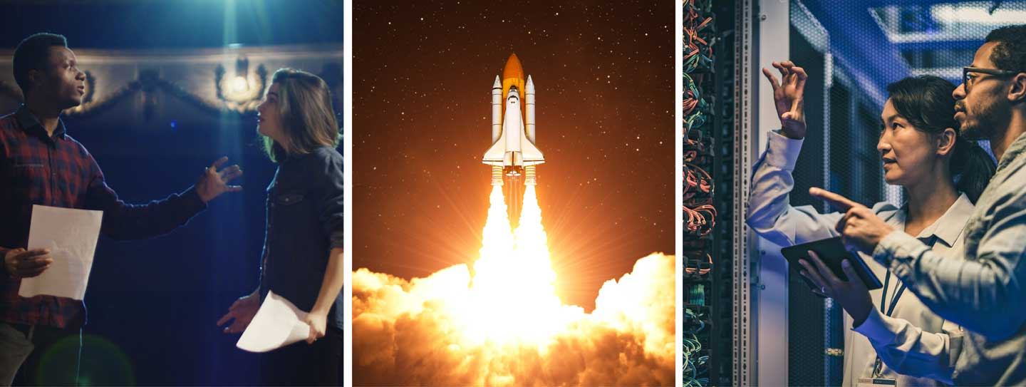 Three image collage: Left: Actors on a stage. Middle: Rocket blasting off. Right: People in a technology field talking.