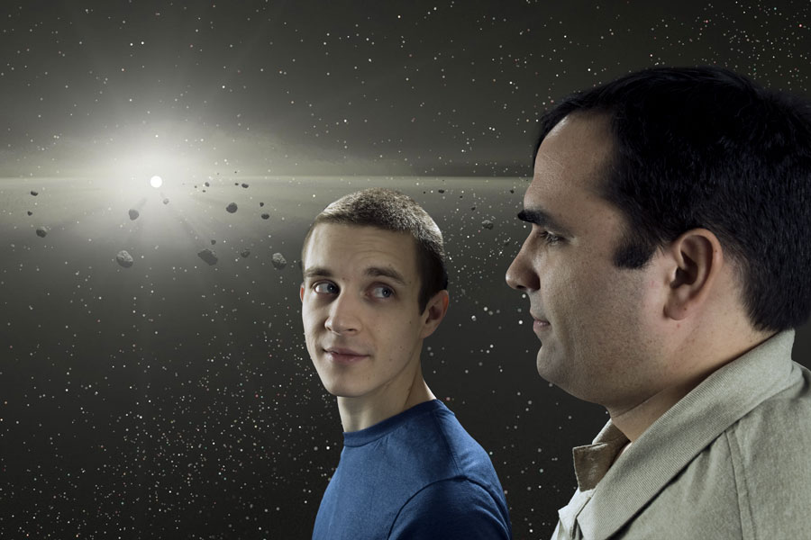 Luke Burgess and Grant Bergstue illustrated as contemplating an astroid field.