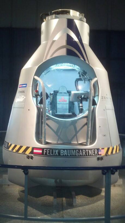 Baumgartner's balloon capsule that is on display at the U.S. Space and Rocket Center in the Red Bull Stratos Exhibit.