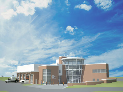An artist's rendering of the new $7 million Severe Weather Research and Lightning Laboratory (SWIRLL) on the University of Alabama in Huntsville