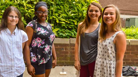 Four rising eighth-graders taking part in this year's Tech Trek participate in a Meet-and-Greet held last month on the UAH campus.