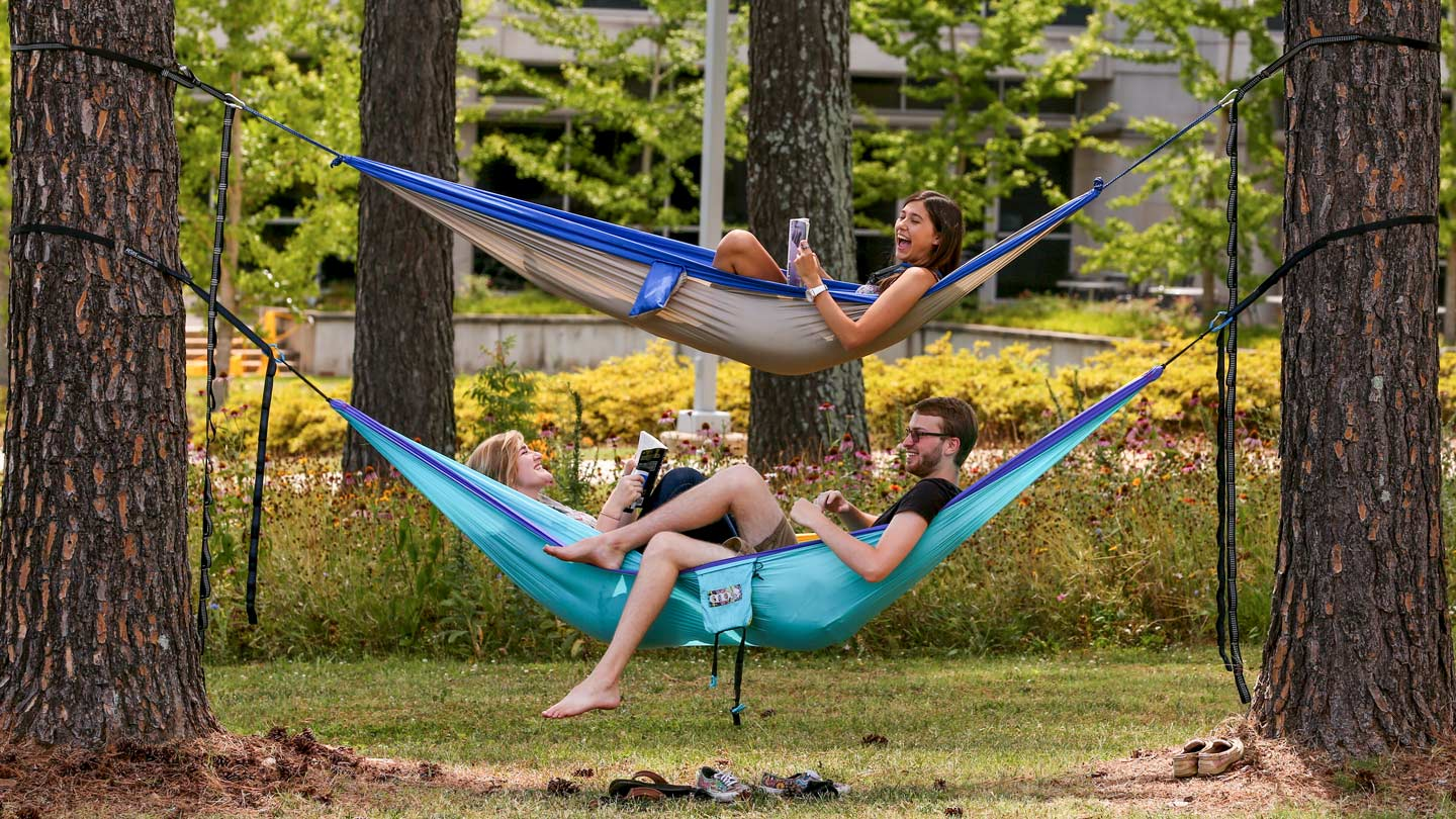 students studying in hammocks tied between trees on UAH campus