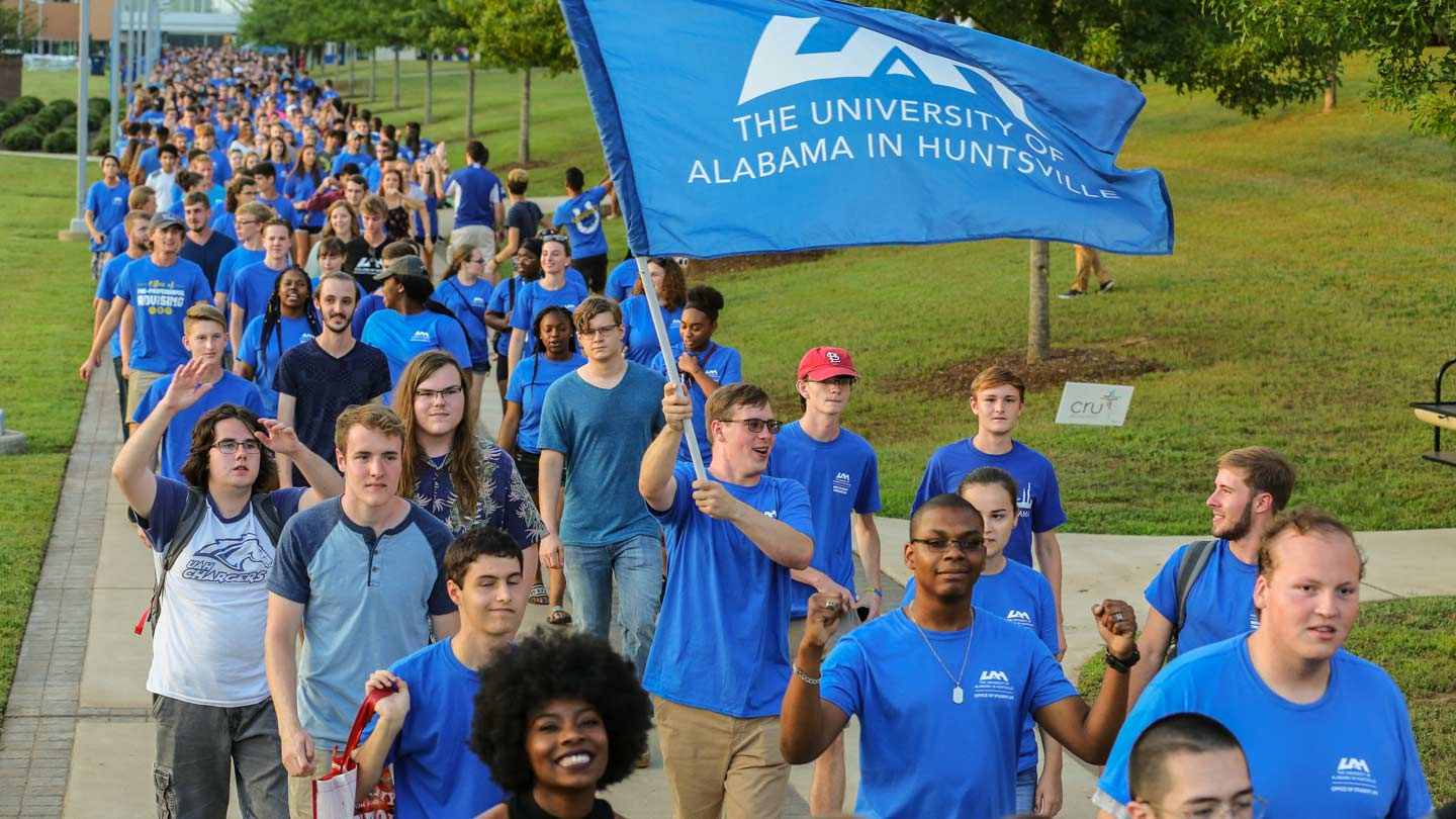 UAH students marching in line