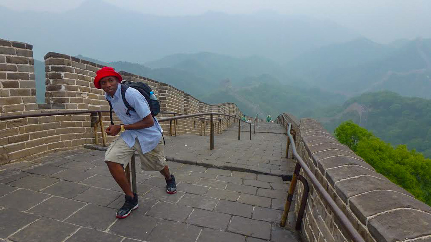 UAH student Allen Bailey tours the Great Wall as part of the College of Business Administration's study-abroad trip to China this past May.