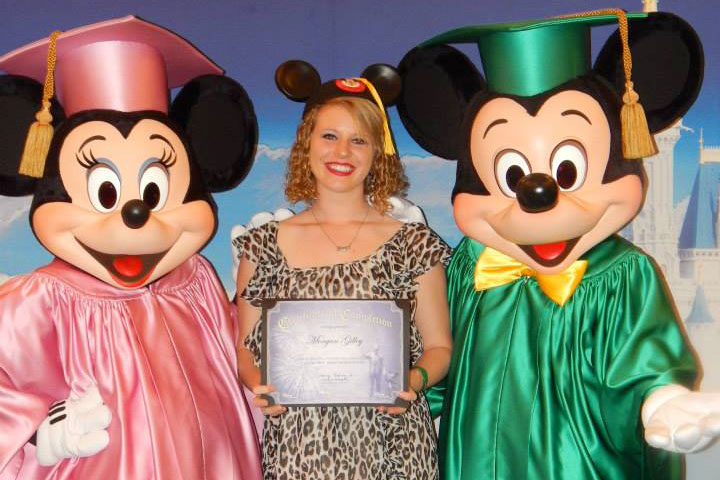 Morgan Gilley with Minnie and Mickey Mouse