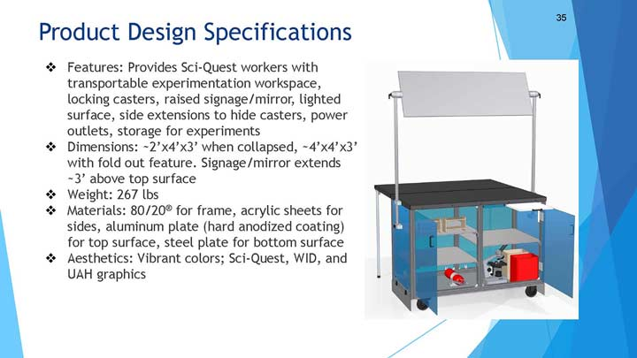 Product Design Specifications. Features: Provides Sci-Quest workers with transportable experimentation workspace, locking casters, raised signage/mirror, lighted surface, side extensions to hide casters, power outlets, storage for experiments. Dimensions: 2'x4'x3' when collapsed, 4'x4'x3' with fold out feature. Signage/mirror extends 3' above top surface. Weight: 267 lbs. Materials: 80/20® for frame, acrylic sheets for sides, aluminum plate (hard anodized coating) for top surface, steel plate for bottom surface. Aesthetics: Vibrant colors; Sci-Quest, WID, and UAH graphics.