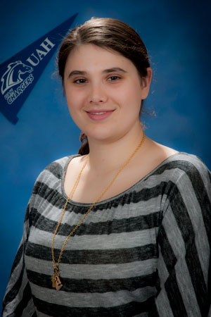 Graduating senior Annalisa Fowler has been active on the UAH campus and also maintained a 3.9 grade point average.