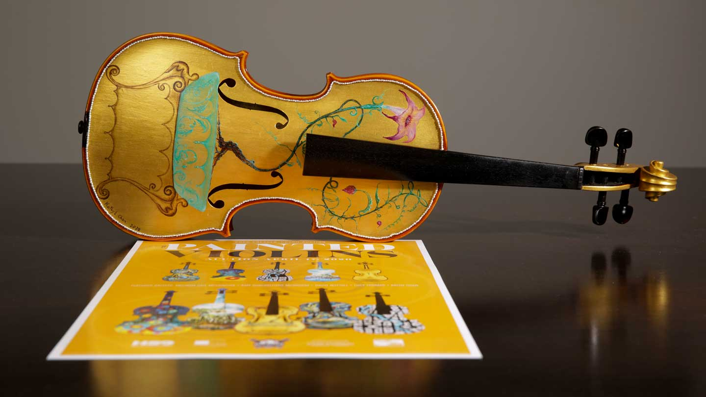 Kathy Chan Painted Violin with Poster.