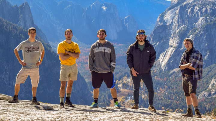Peterson and his fellow interns, seen here in Yosemite National Park, made the most of their free time by traveling up and down the California coast.