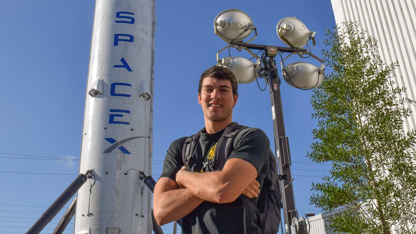 UAH mechanical engineering major Nick Peterson spent last fall interning as an avionic test lab mechanical engineer at SpaceX's headquarters in Hawthorne, Calif.