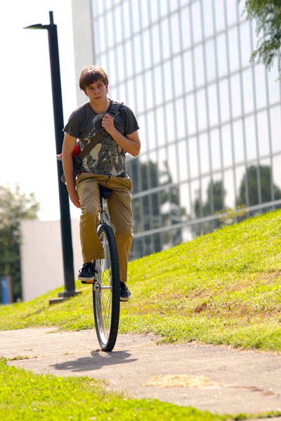 Student Nick Hanson on his 36 inch Coker unicycle.