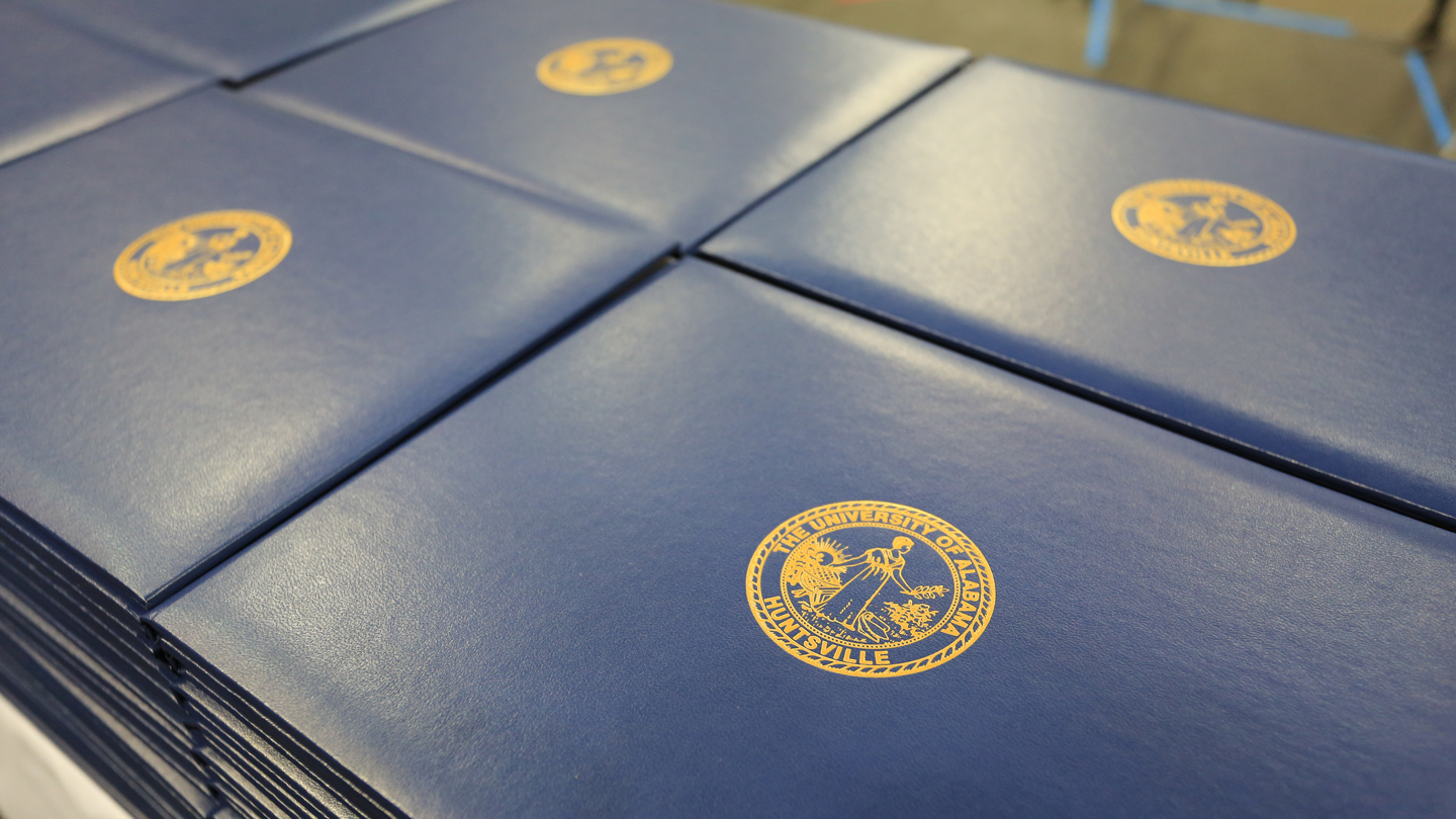 Stack of UAH diplomas