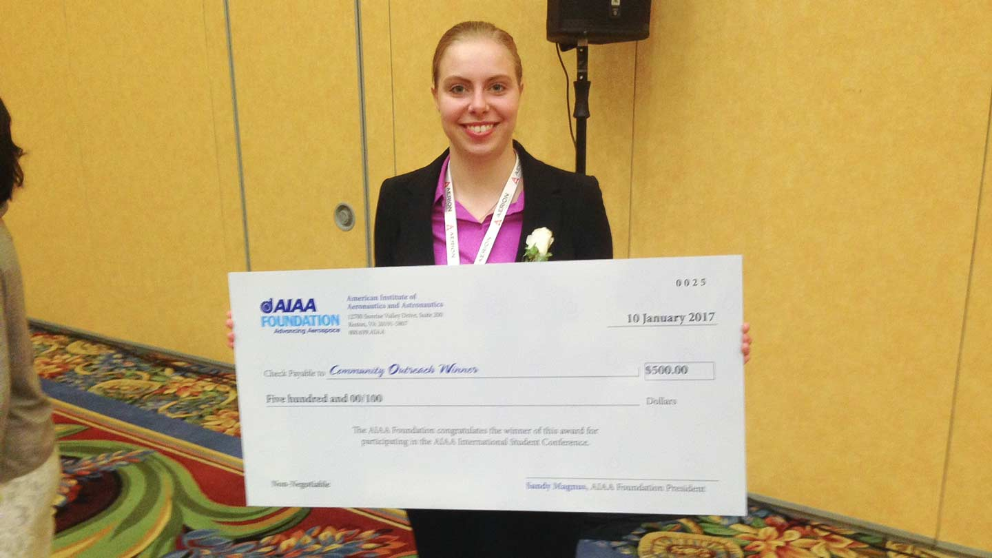 Ashley Sharfenburg wins AIAA National Student Paper Competition