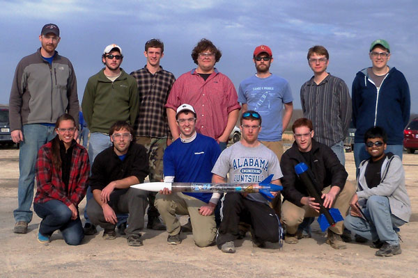 From left, Charger Rocket Works is: Front row – Kelsey Williams, Nick Gronou, Spencer Harrison, Westbrook Campbell, Jake Cranford and Amit Patel. Back row – David Lineberry, Corey Silcox, Matthew Denny, Christopher Paaymans, Eric Free, Dean Gillmore and Johnathon Smith.