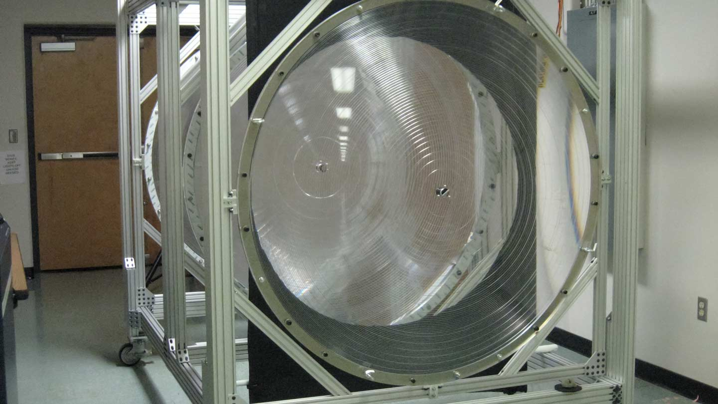 A 1.5-meter-diameter subscale prototype optic, produced in Japan by Riken