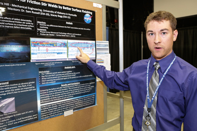 UAH students who graduated from the Marshall Space Flight Center's summer internship program presented their project posters and abstracts on Wednesday, Aug. 9. From top are Jaewon Choi, physics, mathematics, optics; Chris Hill, mechanical engineering; Markus Murdy, aerospace engineering; Glenn Scott Nesbitt II, aerospace engineering; and Maria Emma Torres, chemistry/biology.