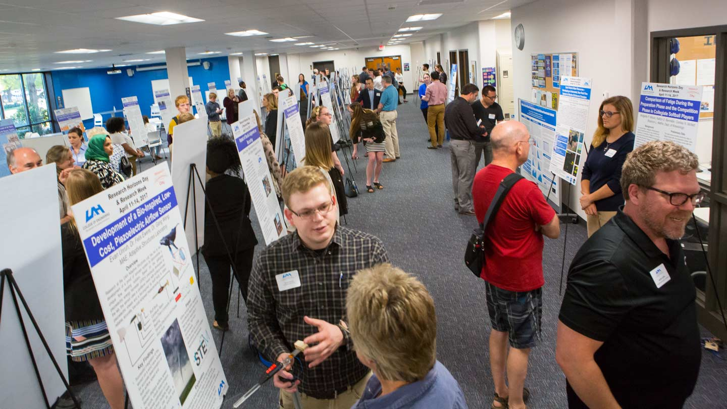 Students displaying their research posters