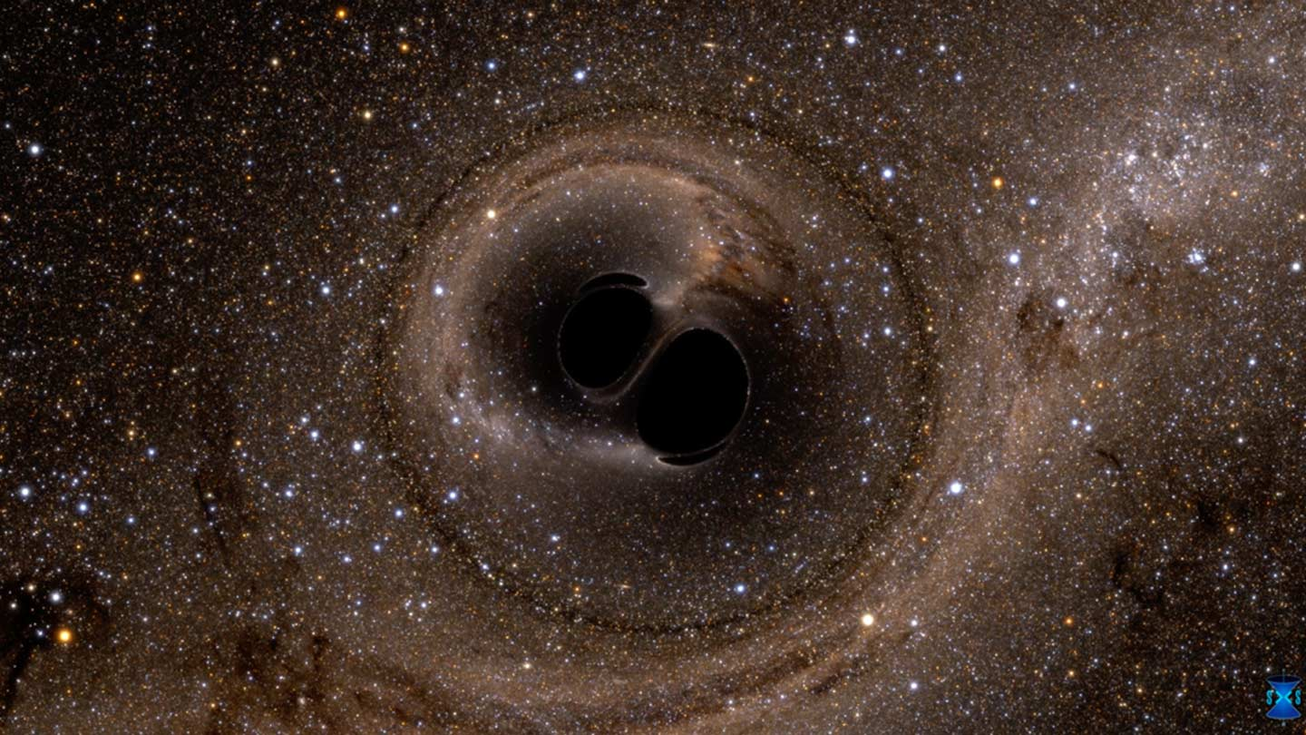 illustration of two black holes merging