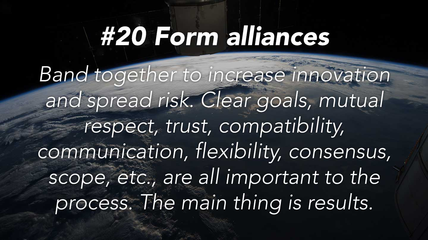 Form alliances. 