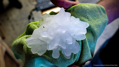 A record-setting hailstone as it was collected after a storm dropped it on Walter, Ala., on March 19, 2018.