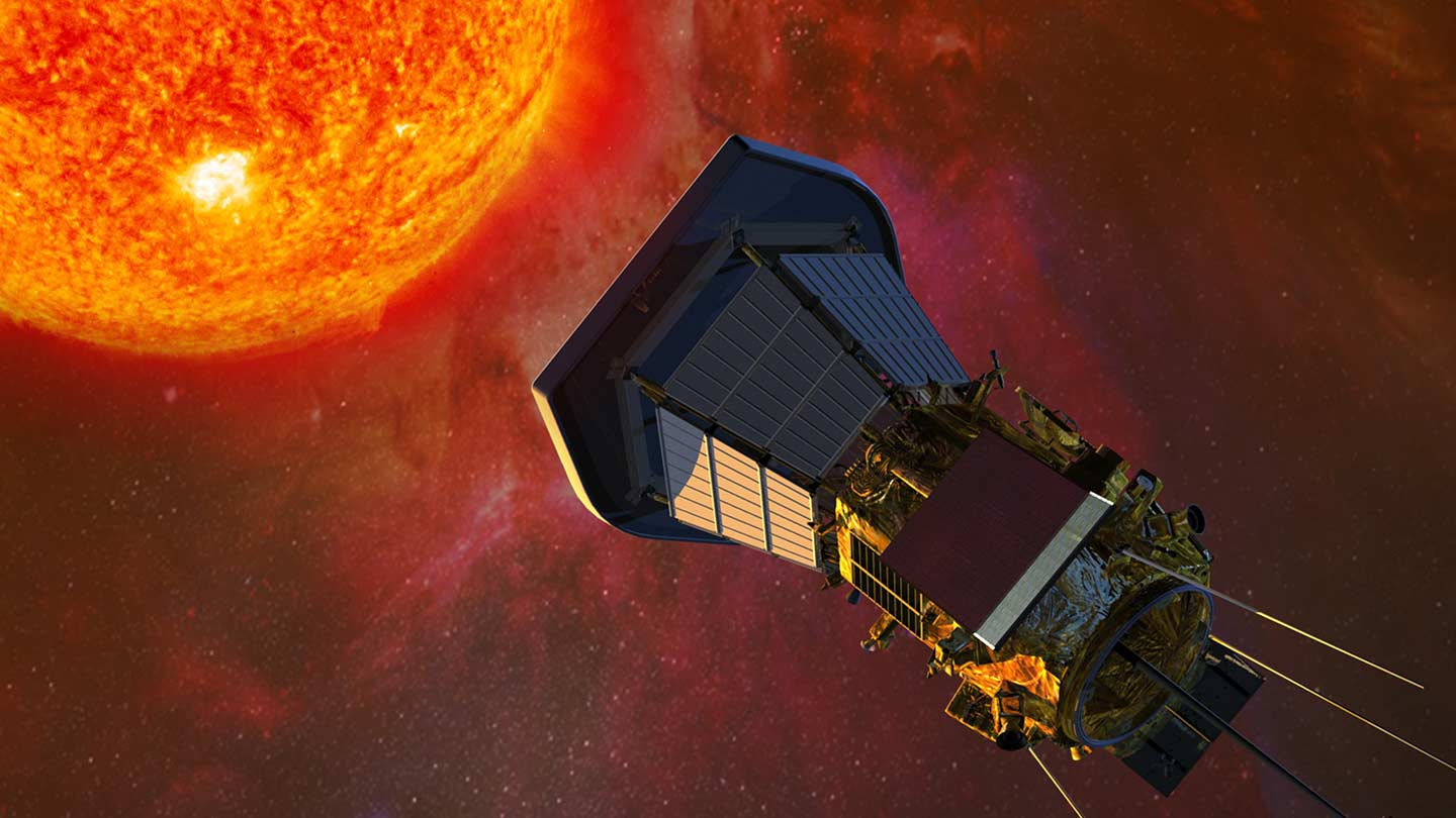 Artist rendering of the Parker Solar Probe approaching the sun.