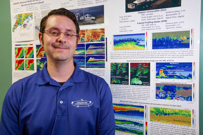 Doctoral student Todd Murphy's research proves that reliable dual-Doppler analysis techniques can be used with storm data obtained from just one Doppler radar instead of two.