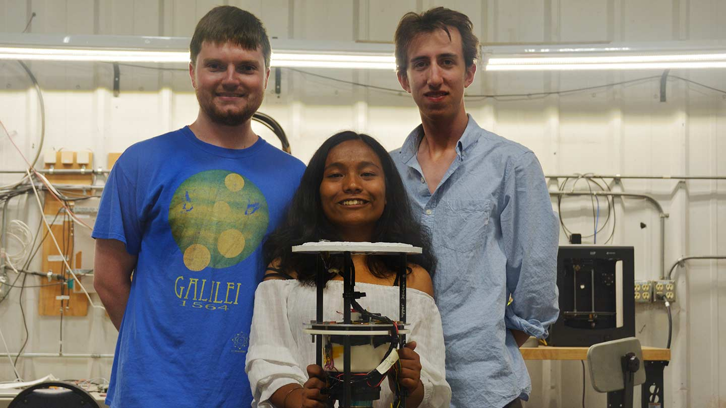 Christopher Helmerich, Elena Pradhan and Jared Fuchs with ALFRED
