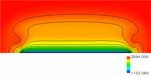 014 Temperature Contours in Combustion Zone M0.0